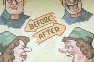 Gesichter unglücklich dann glücklich - Beschriftung before, after